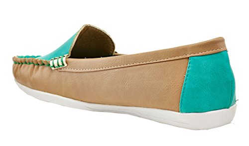 Lady Godiva Mocassini Casual Colorati Slip-on Mocassini Che Guidano Le Scarpe Piatte Della Barca Verde