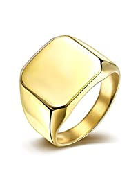 HMILYDYK Polished Gold Plating Square Eternity Wedding Band Stainless Steel Ring Size 7 to 10