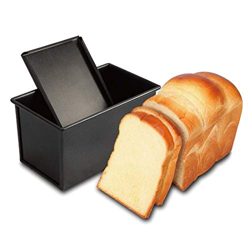 (CAN_Deal Loaf Pan With Cover/Bread Baking Mould Cake Toast/Non-Stick Toast Box with Lid For 450g Dough, Vented Hole for Rapid Baking, Made from Heavy-gauge Carbon Steel (Smooth Style))
