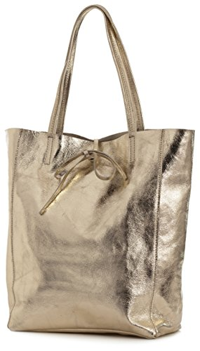 ASTRID Rose Large Genuine Leightweight Leather Shopper Handbag Shoulder Gold LIATALIA Metallic Deep Hobo Soft Tote Italian RP411q