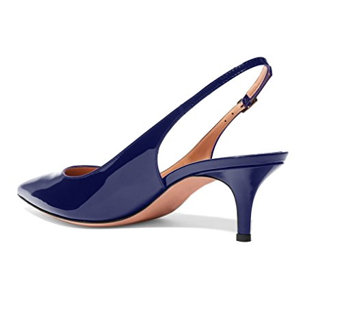 Sammitop Pointed Women's Toe Heel Darkblue Shoes Comfortable Shoes Dress Kitten Slingback Pumps r16rEnw5qd