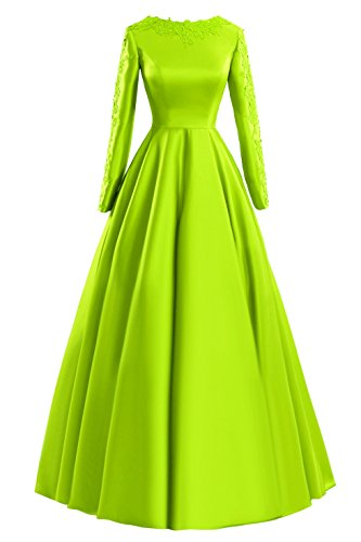 Formal Evening Lime Sleeves Green Long Women's A Bess Appliques Prom Bridal Line Dresses wqn0RTz