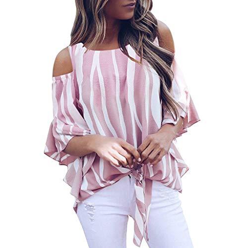 (Sexy Crop Tops Women Short Sleeve Stripe Print Bandage Knot Blouse Beach Wrap)