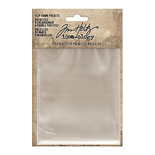 Tim Holtz Idea-ology Flip Frame Pockets 15/Pack, Includes Sizes: 3.25 x 4.25 Inches and 3.25 x 2 Inches, Clear - Tim Frame
