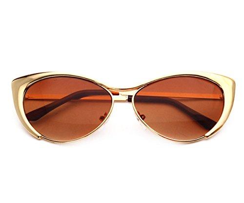 Heartisan Colorful Cat Eye Reflective Lens Full Rim Metal Frame Sunglasses - Sunglasses Solstice