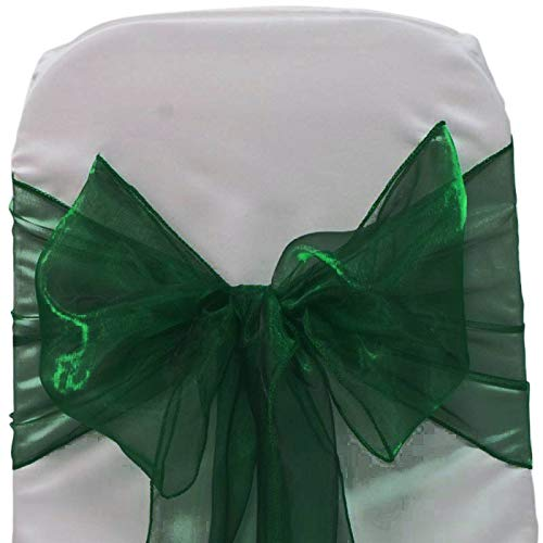 mds Pack of 100 Organza Chair Sashes Bow Sash for Wedding and Events Supplies Party Decoration Chair Cover sash -Hunter Green