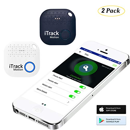 iTrack Motion Key Finder Bluetooth, Smart Wireless Phone Finders Location Tracker Device for Phone, Kids, Keychain, Wallet, Bags, Purse, Luggage, Pets (2018 New Designed) - 2-Pack White+Dark Blue
