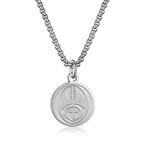 INRENG Athletes Sports Cross Pendant Necklace for Men Women Faith Prayer Inspiring Luke 1:37 Bible Verse on Back Football Charm Silver 2