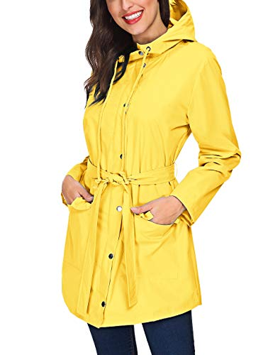 ZHENWEI Women's Rain Jacket Waterproof Nylon Lined Windbreaker for Spring Cycling(Yellow,XL)