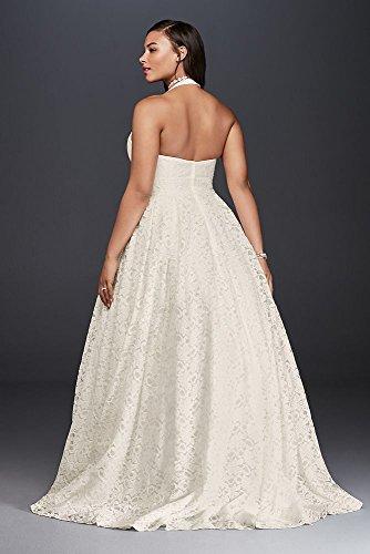 Plunging Lace Halter Plus Size Wedding Dress Style 9wg3844 Ivory