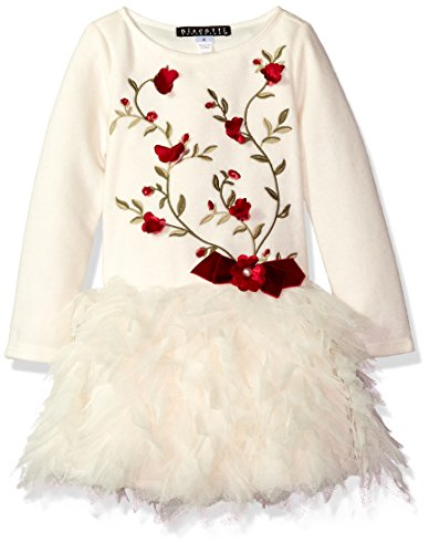 Biscotti Little Girls' Baroque Beauty Long Sleeve Sweater Dress, Ivory, 4 by Biscotti