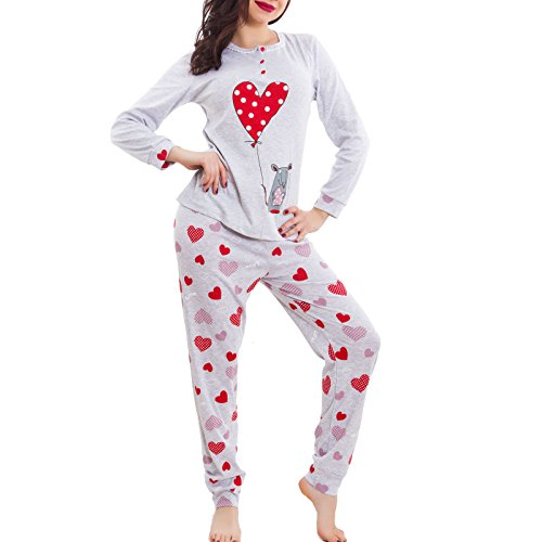 topolino Rosso Toocool Pigiama nuovo kawaii lunghe maniche pantaloni BE 6251 donna CUORI CxHwq6