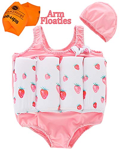 Sylaon Prime Deal Gift for Kids Floatation Swimsuit Adjustable Buoyancy Boys Girls Life Jacket Swim Training Suit with Cap Arm Floaties for 1-6Y