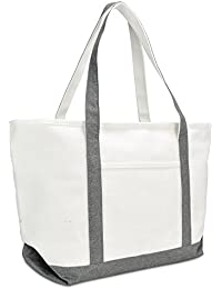 "23"" Premium 24 oz. Cotton Canvas Shopping Tote Bag (Gray)"