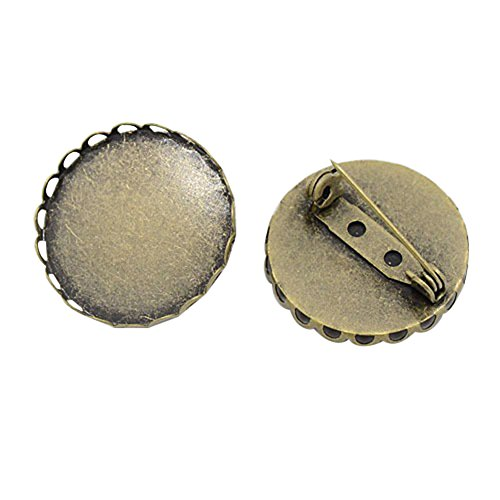 PandaHall 10 Pcs Iron Brooch Clasps Pin Disk Base Pad Bezel Blank Cabochon Trays Backs Bar Diameter 25mm for Badge, Corsage, Name Tags and Jewelry Craft Making Antique Bronze