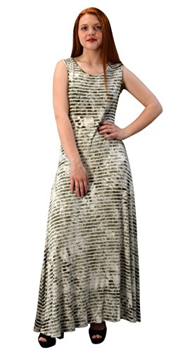 Peach Couture Lightweight Scoop Neck Striped Racerback Tie Dye Summer Maxi Dress Olive Large