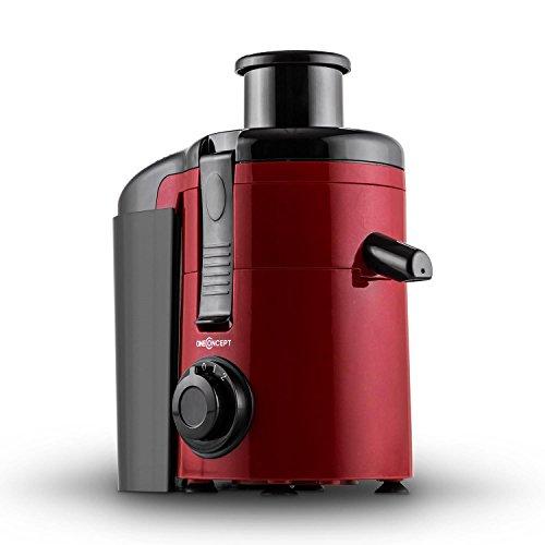 oneConcept Juice Ninja Turbo Multifunktions-Entsafter Saftpresse elektrisch (250Watt, 11000U/Min, Auffangbehälter, 2 Geschwindigkeiten) rot