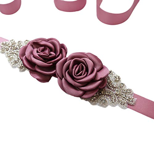 - Vicokity Bridal Wedding Dress Sash Belt With Crystal Bead Pearls Rhinestone Belt Flowers Belts For Womens (Nude Pink 1)