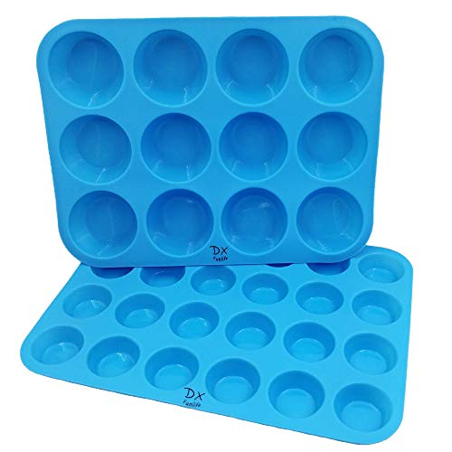 DX Funlife Silicone Muffin Pan Cupcake Baking Cups Cake Molds Maker Cake Pops Bakeware Tins Tray Non Stick Pans Easy To Clean BPA Free (Large 12 Cups and Mini 24 Cups) Set of 2 Sky Blue by DXFUNLIFE