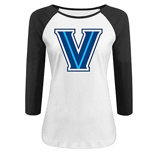 Women's Villanova Wildcats Logo 100% Cotton 3/4 Sleeve Athletic Baseball Raglan Tee Shirts Black US Size (Lil Wayne Vice)