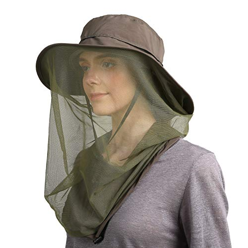 Flammi Mosquito Head Net Hat Outdoor UPF 50+ Sun Hat with Mesh Protection from Insect Bug Bee Gnats Bucket Boonie Hat Cap Outdoor Men/Women (Army Green) ()