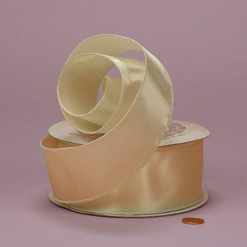 Ivory Cast-Over Wired Satin Ribbon, 2-1/2