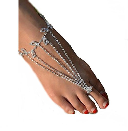 Silver Tone Silver Toe Ring (2 Barefoot Ankle Sandals Rhinestone Bracelet with Attached Toe Ring. Silver Tone.)