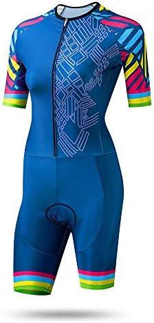 サイクルジャージ 夏の乗馬服サイクリング服女性のトライアスロン服女性スケートドレス通気性UV保護 吸汗速乾高通気 (色 : 青, サイズ : XL)