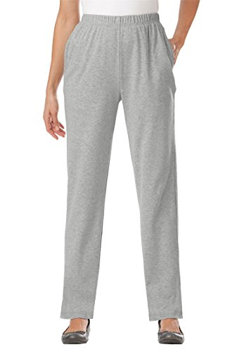 Woman Within Plus Size 7-Day Knit Straight Leg Pant - Heather Grey, S