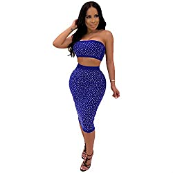 Blue #2 Two Piece Dress With Diamond Process