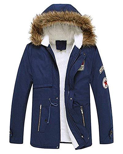 Militaire Vestes Bleu M Manteaux Foncé Chaudes coloré Foncé Capuche Oudan Mens Manteau Fourrure À Parka De Taille qx718ZX
