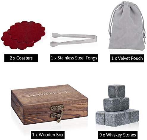PEMOTech Whisky Steine, 9 Paare Granit-Drink-Rocks, 1 Edelstahlclip und 2 Untersetzer, verpackt in Einer exklusiven hölzernen Geschenk-Tasche und Samt-Tasche, Männer im Winter
