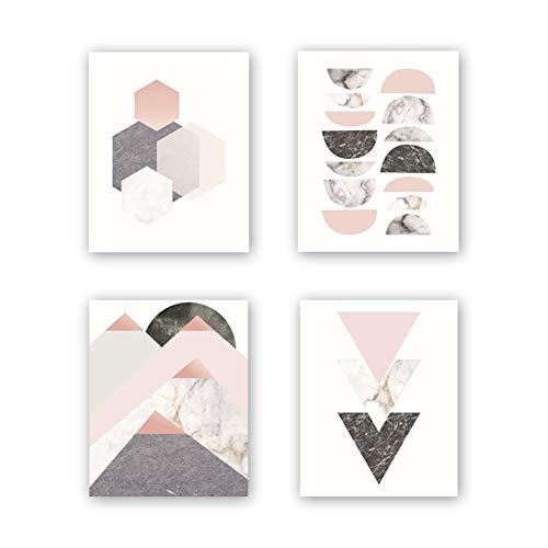 Unframed Abstract Geometry Art Print Modern Mid Century Art Poster,Set of 4(8''x10'') Geometric Wall Art Canvas Painting Triangles,Sunrise Art Printfor Living Room Wall Decor