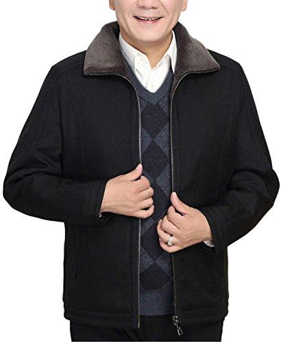 Uomo Classica Formale black Cerniera Caldo Casual Con Cappotto Giacca xl Da Lavoro In Addensato Pile p81Y5qwa
