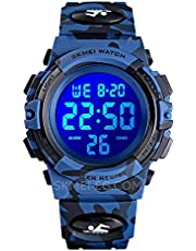 SKMEI Custom Kids Day Calendar and Day Life Waterproof Alarm Clock - Rubber Wrist Strap - Army Blue - Model 1548 Skimmy Watches Gifts