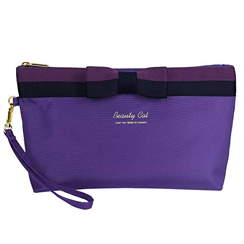 Fashion Luxury bow stripe travel cosmetic toiletry bag Makeup handbag for women organizer purple