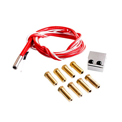 Wangdd22 High Speed V6 Print Pack for RepRap 3D Printer 1.75/3mm Filament Metal Hotend Volcano Extra Nozzles + Heater Block+NTC 3950 Thermistor