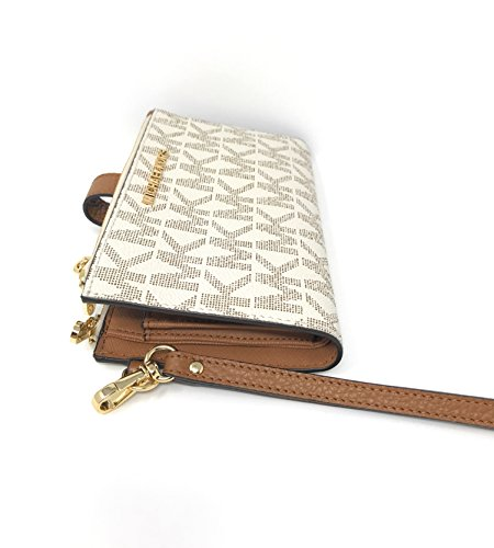 523ff57de2b7 Michael Kors Jet Set Travel double Zip Wristlet - Vanilla/Acorn by Michael  Kors (