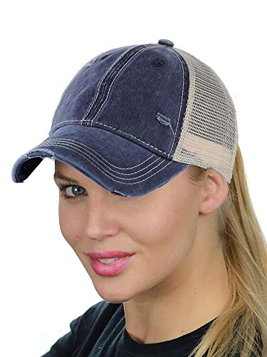 (C.C Ponycap Messy High Bun Ponytail Adjustable Mesh Trucker Baseball Cap Hat, Washed Navy)