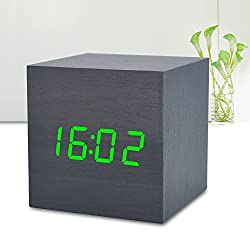 Wooden Alarm Clock LED with Sound Control Function Digital Time Date Temperature Display Electronic Cube Desktop Home Travel Bedroom Clocks for kids (Black Wood Green Light)