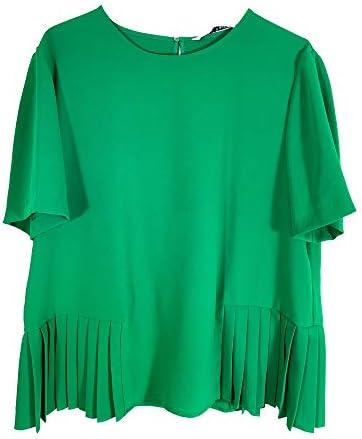 Zara 9479/053 - Top con Dobladillo Plisado para Mujer Verde ...