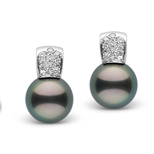Glamour Collection Tahitian 12.0-13.0 mm Cultured Pearl and Diamond Earrings 14K White Gold - Diamonds 13mm Tahitian Pearl Ring