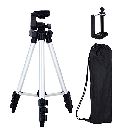 SUNYI Lightweight Tripod with Adjustable-height legs Free Phone Holder with Bag