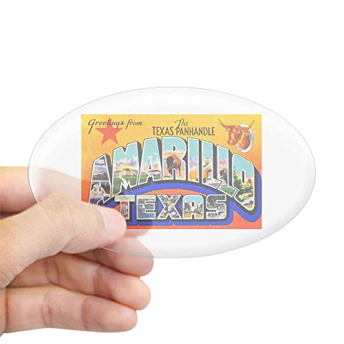 CafePress Amarillo Texas Greetings Oval Bumper Sticker, Euro Oval Car -