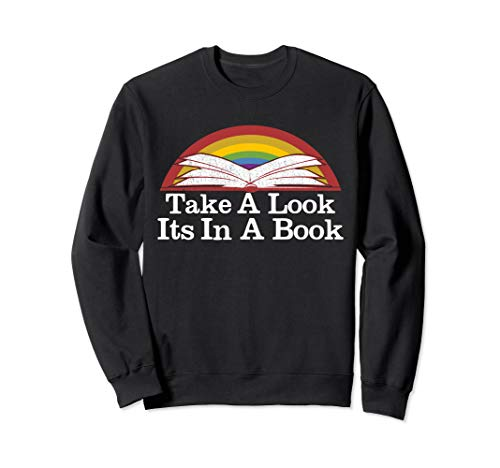 Take A Look It's In A Book Retro Rainbow Reading Book Shirt