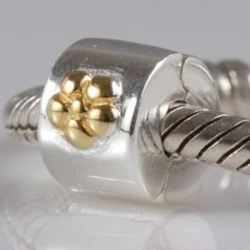 Abalorio de plata de ley 925, diseño de flor de oro, cierre de clip de seguridad, con abalorio espaciador, compatible con...