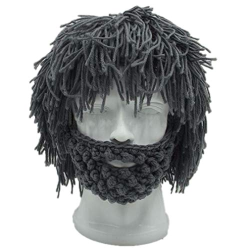 LLOWYY Beard Hats H Made Knit Warm Caps Halloween Funny Party Beanies for Mad Scientist Caveman Men Women Winter -