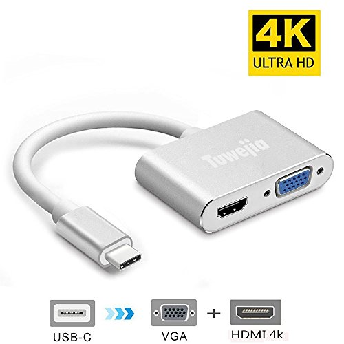 USB-C To HDMI VGA Adapter,Tuwejia 2 in 1 USB 3.1 Type-C to VGA HDMI 4K UHD Converter Adapter Dual screen display with Aluminium Case for MacBook/ChromeBook Pixel/Galaxy S8 And Other Type-C Devices by Tuwejia