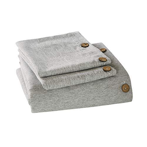 Mukka 3 Pieces Grey Heather Linen Like Chambray Modern Style Coconut Button Closure Duvet Cover Bedding Set Queen Soft Luxury Breathable Microfiber Easy Care Bed ()
