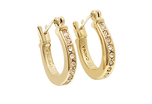 COACH Loop Gold Tone Huggie Earrings in a Coach Box - F54497 GLD ()